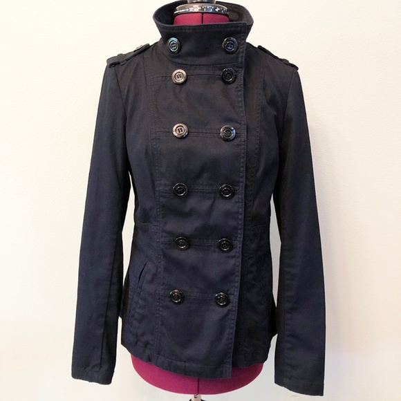 Divided Jackets & Blazers - Divided | Double Breasted Black Twill Peacoat